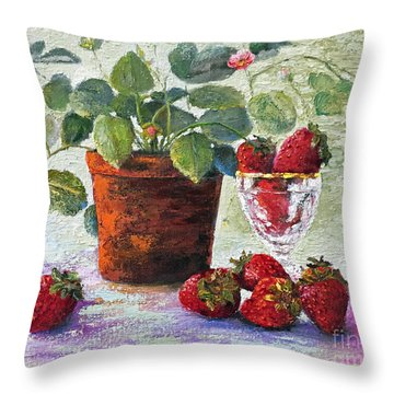 Throw Pillow featuring the painting Strawberry Still Life by Marlene Book