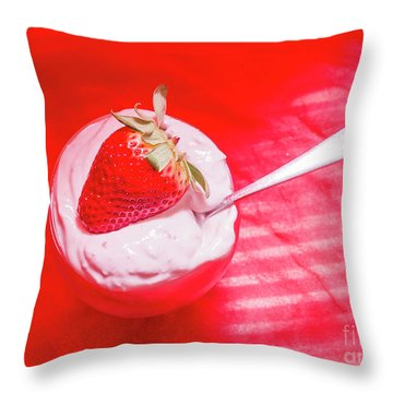 Strawberry Yogurt In Round Bowl With Spoon Throw Pillow