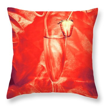 Straweberry Tropical Cocktail Drink Throw Pillow