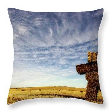 Strawman On The Prairies Throw Pillow