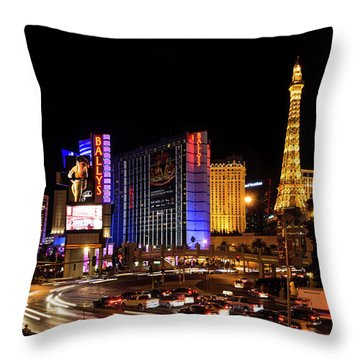 Streaking Along The Famous Strip - Las Vegas Neon Rush Throw Pillow