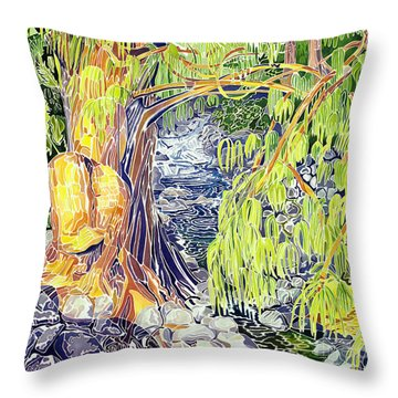 Stream At Laupahoehoe Throw Pillow by Fay Biegun - Printscapes
