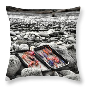Stream Side Fly Box Throw Pillow