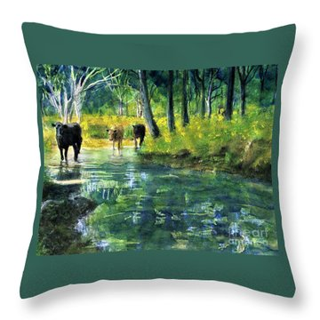 Streaming Cows Throw Pillow
