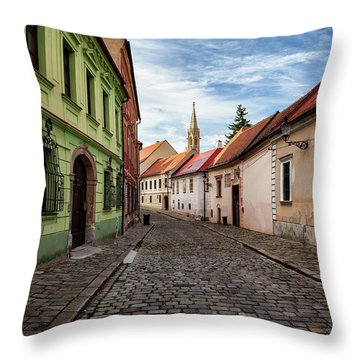 Street And Houses In Bratislava Old Town Throw Pillow