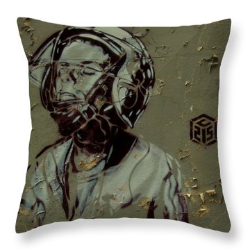 Wheat Paste Art Abstract  Throw Pillow by Sheila Mcdonald