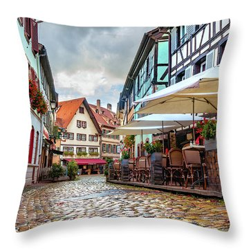 Throw Pillow featuring the photograph Street Cafe After The Rain by Dmytro Korol