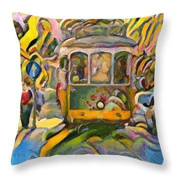Street Car Lisbon Throw Pillow