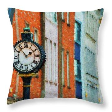Street Clock In Cork Throw Pillow