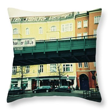Street Cross With Elevated Railway Throw Pillow