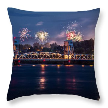 Street Fireworks By The Blue Bridge Throw Pillow