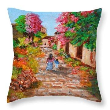 Street In Monemvasia Throw Pillow