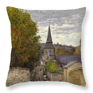 Street In Sainte Adresse Throw Pillow by Claude Monet