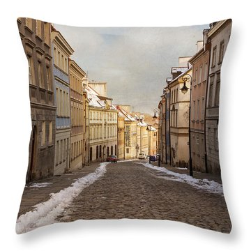 Throw Pillow featuring the photograph Street In Warsaw, Poland by Juli Scalzi