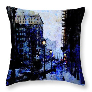Street Lamps Sidewalk Abstract Throw Pillow