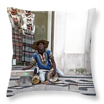 Throw Pillow featuring the photograph Street Music, Lisboa by Lorraine Devon Wilke