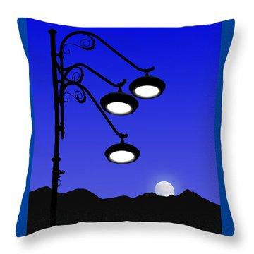 Street Light And Moonrise Throw Pillow