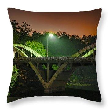 Street Light On Rogue River Bridge Throw Pillow by Jerry Cowart