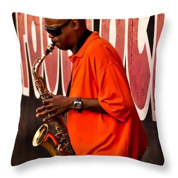 Street Music Throw Pillow by Christopher Holmes