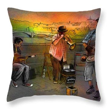 Street Musicians In Prague In The Czech Republic 03 Throw Pillow by Miki De Goodaboom