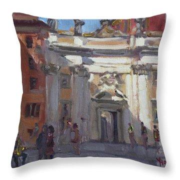 Street Musicians Pzza San Silvestri Rome Throw Pillow