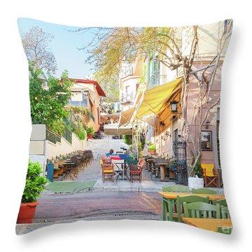 Street Of Athens, Greece Throw Pillow