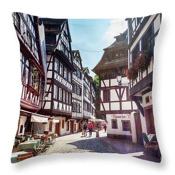 Throw Pillow featuring the photograph street of Petit-France - part of old town, Strasbourg,  France,  by Ariadna De Raadt