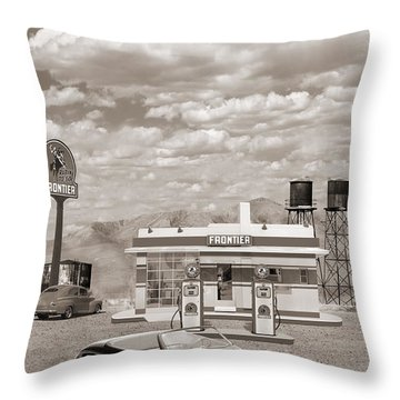 Street Rod At Frontier Station Sepia Throw Pillow