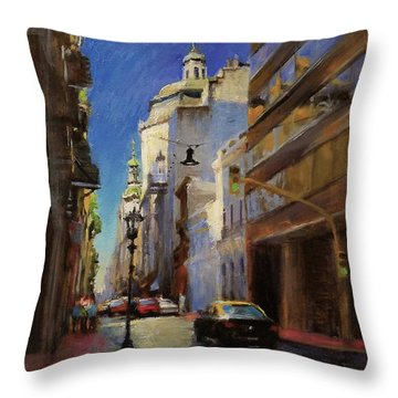 Street Scene In Buenos Aires Throw Pillow by Peter Salwen