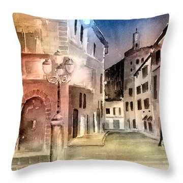 Street Scene In Italy Throw Pillow by Arline Wagner