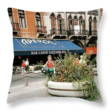Throw Pillow featuring the photograph Street Scene In Padua, Italy by Merton Allen