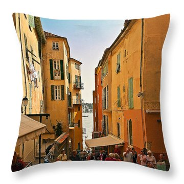 Street Scene In Villefranche Throw Pillow by Steven Sparks