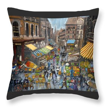 Street Scene Market Throw Pillow