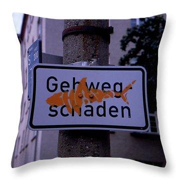 Street Sign With Graffiti Throw Pillow