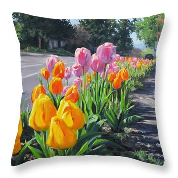 Street Tulips Throw Pillow by Karen Ilari