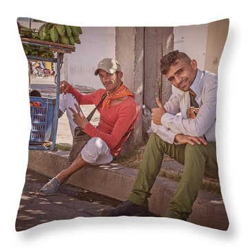 Throw Pillow featuring the photograph Street Vendors In Cienfuegos Cuba by Joan Carroll