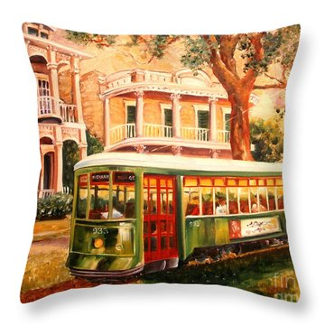 Streetcar In The Garden District Throw Pillow
