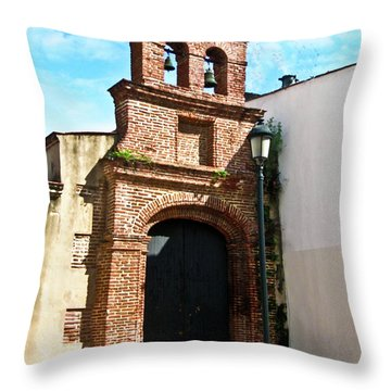 Streetlight Bells And Cross Throw Pillow by Douglas Barnett