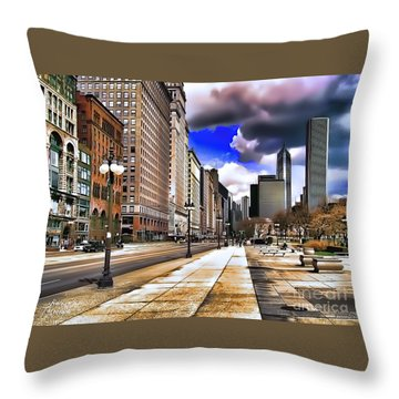 Streets Of Chicago Throw Pillow