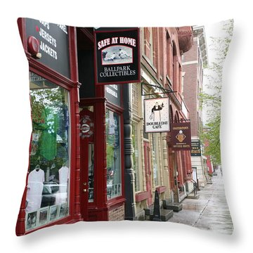 Streets Of Cooperstown Baseball Hall Of Fame Location  Throw Pillow