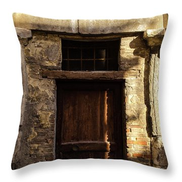 Streets Of Italy - An Ancient Door Throw Pillow by Andrea Mazzocchetti