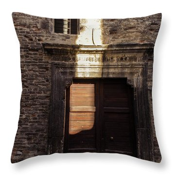 Streets Of Italy - An Ancient Door 2 Throw Pillow by Andrea Mazzocchetti