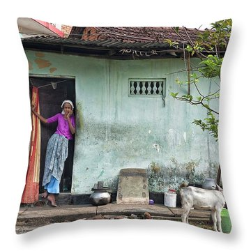 Streets Of Kochi Throw Pillow by Marion Galt