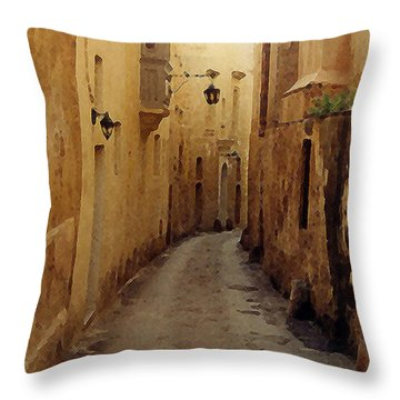 Throw Pillow featuring the photograph Streets Of Malta by Debbie Karnes