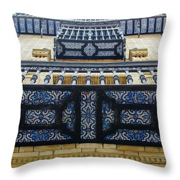 Streets Of Seville - Azulejos Throw Pillow by Andrea Mazzocchetti