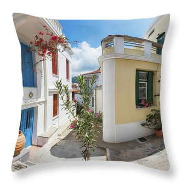Streets Of Skopelos Throw Pillow by Evgeni Dinev