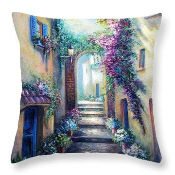 Streetscene In Old Town Greece Throw Pillow by Regina Femrite