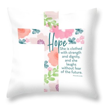 Strength And Dignity Cross- Art By Linda Woods Throw Pillow