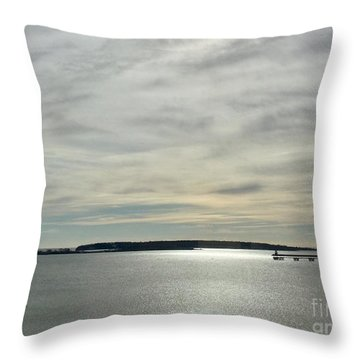 Striated Sky Over Casco Bay Throw Pillow
