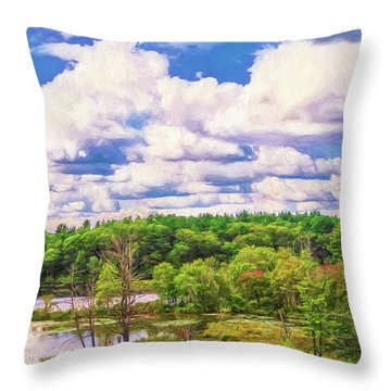 Striking Clouds Above Small Water Inlet And Green Trees Throw Pillow